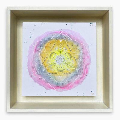 2430  Material: Aquarell/Weiß Acryl/ Bleistift •  Holzrahmen: Größe Außen: 30x30cm   Innen :23x23 cm   Tiefe: 6 cm   •  Preis: 169 €