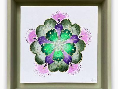 2432  Material: Aquarell/Gold Acryl/ Bleistift •  Holzrahmen: Größe Außen: 30x30cm   Innen :23x23 cm   Tiefe: 6 cm   •  Preis: 169 €
