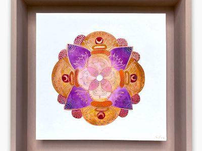 2435  Material: Aquarell/Gold Acryl/ Bleistift •  Holzrahmen: Größe Außen: 30x30cm   Innen :23x23 cm   Tiefe: 6 cm   •  Preis: 169 €