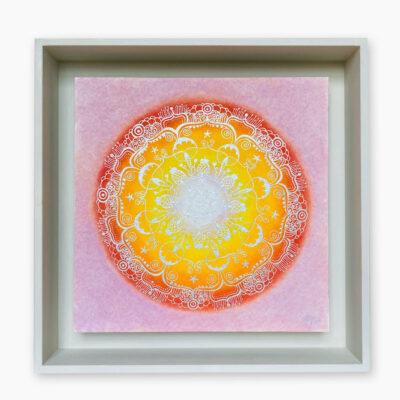 2444  Material: Pastellkreide/Gold Acryl •  Holzrahmen: Größe Außen: 40 x 40 cm   Innen: 32 x 32  cm   Tiefe: 6 cm • Preis: 259 €