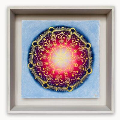 2445  Material: Pastellkreide/Gold Acryl •  Holzrahmen: Größe Außen: 40 x 40 cm   Innen: 31 x 31  cm   Tiefe: 6 cm • Preis: 259 €