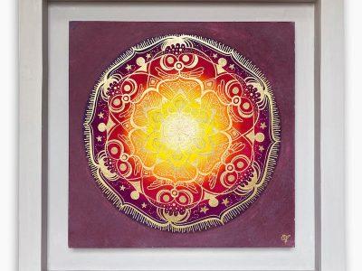 2459  Material: Pastellkreide/Gold Acryl •  Holzrahmen: Größe Außen: 57 x 57 cm   Innen :40 x 40  cm   Tiefe: 4 cm • Preis: 329€