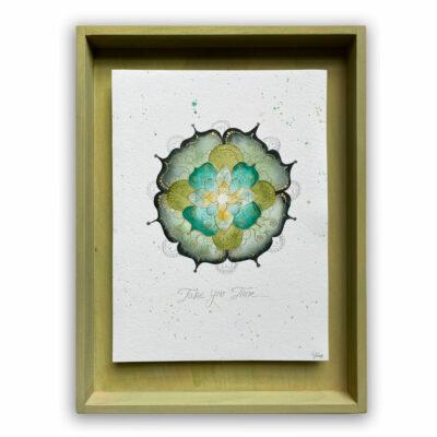 Aquarell Mandala in Holzrahmen Außenmaße: 40 Lang x 30 cm Breit x  3 cm Tief   / Innen 31x 23 cm   Preis : 179 €  + Versandkosten